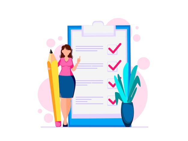 Женщина планирует месяц, чтобы сделать список