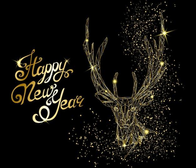 鹿の頭と幸せな新年のグリーティングカード