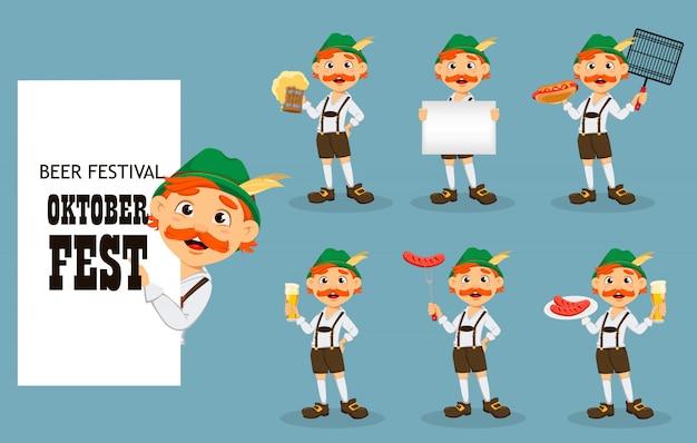 Октоберфест, пивной фестиваль. смешной рыжий мужчина