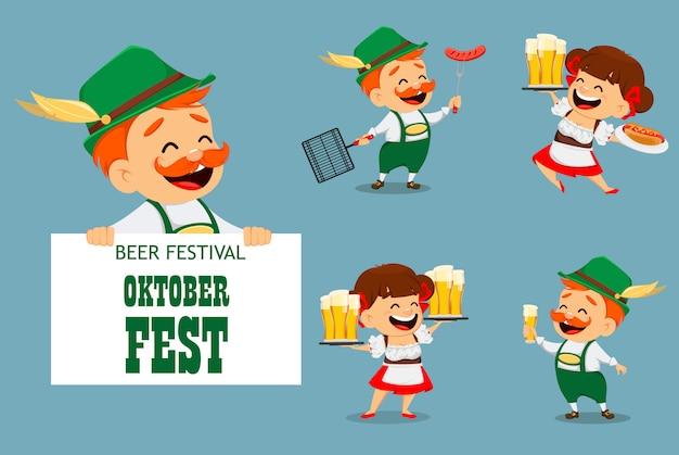 Октоберфест, пивной фестиваль. смешной мужчина и женщина