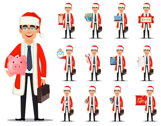 サンタクロースの衣装でのビジネスの男性