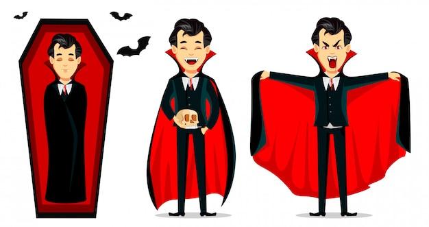 ハッピーハロウィン。吸血鬼の漫画のキャラクター