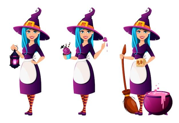 ハロウィーンパーティー。美しい女性の魔女