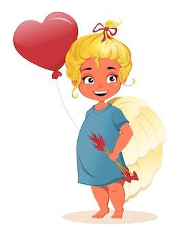 かわいい小さな女の子の天使。ハッピーバレンタインデー