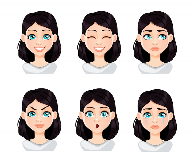 Выражения лица женщины с темными волосами
