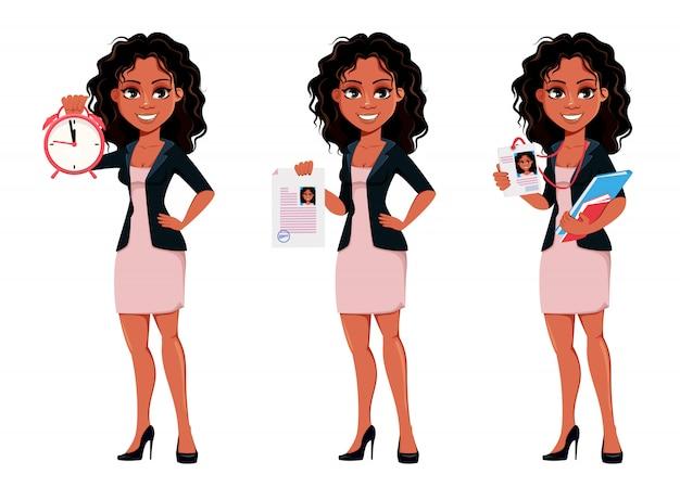 Красивая молодая афро-американская бизнес-леди