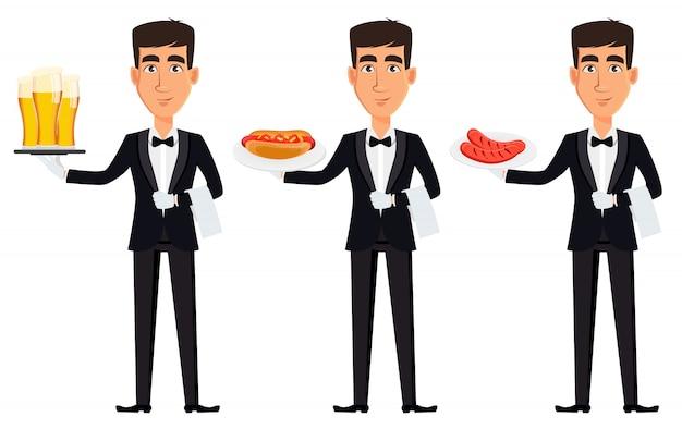 Красивый официант в профессиональной форме