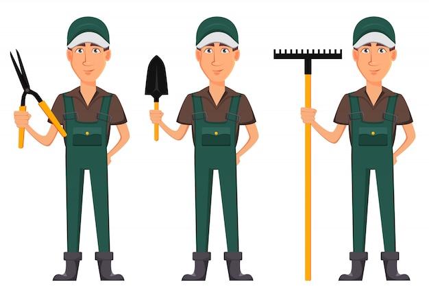 Садовник, мультипликационный персонаж в униформе