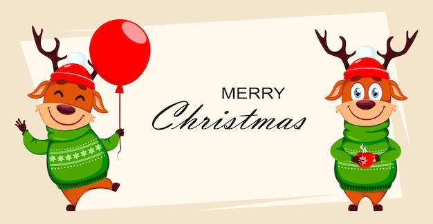 Веселая рождественская открытка с оленем