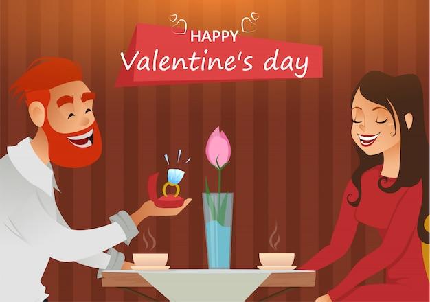 Влюбленная пара, романтический вечер в ресторане