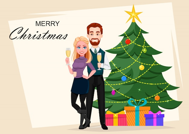 Счастливого рождества. романтическая пара