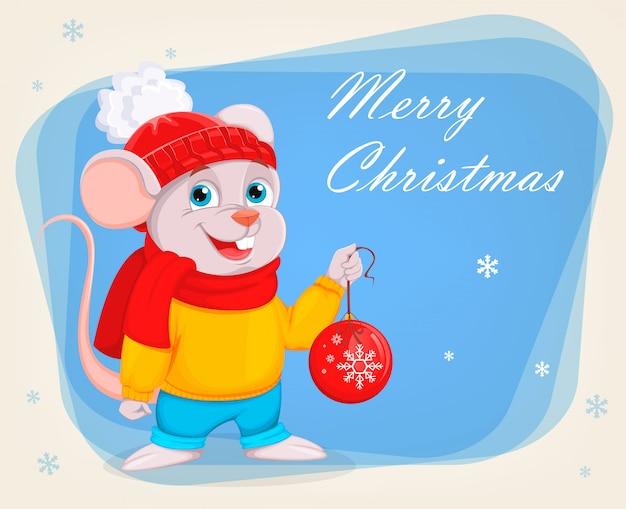 面白い漫画のマウスはクリスマスツリーのボールを保持します