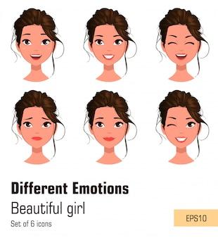 Молодая привлекательная девушка с различными эмоциями