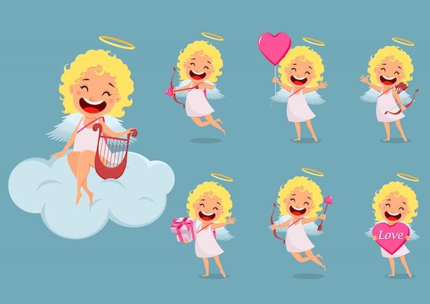 Купидон девушка, милый мультфильм набор символов