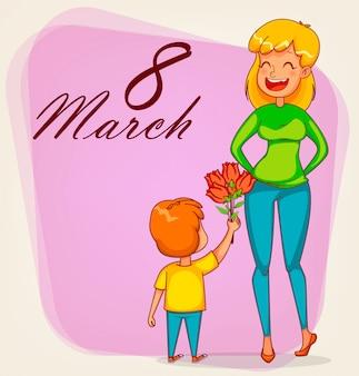 Поздравительная открытка с международным женским днем