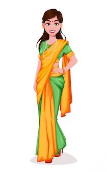Красивая индийская женщина. милая дама
