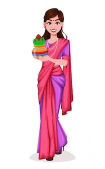 伝統的な服で美しいインドの女性