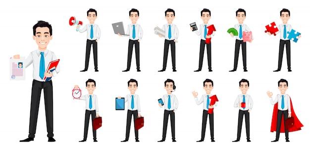 Красивый бизнесмен мультипликационный персонаж