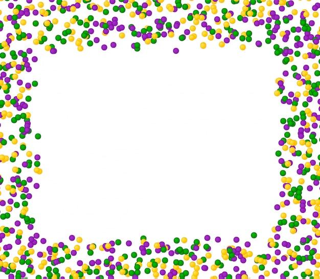 カラードットで作られたマルディグラのカーニバルパターン