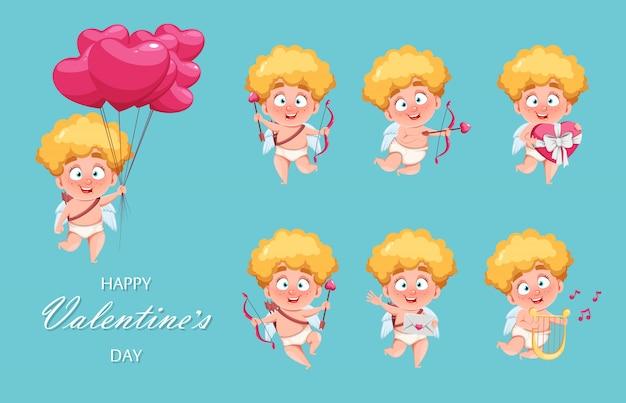 幸せなバレンタインデー。面白いキューピッドキッド