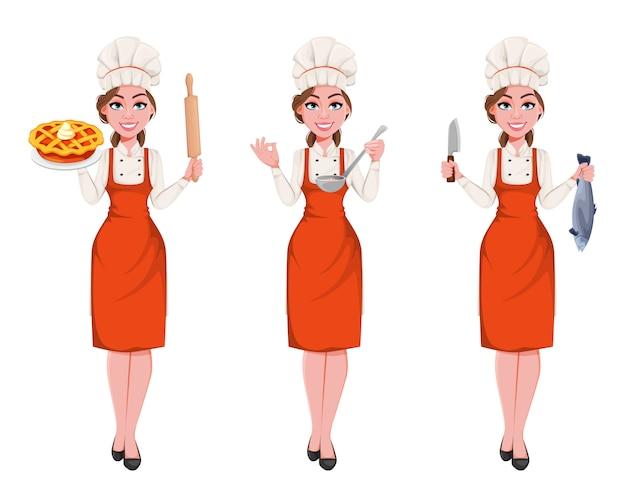 Красивый молодой шеф-повар женщина.