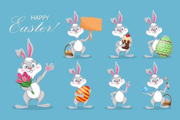Христос воскрес. забавный мультяшный кролик, сет