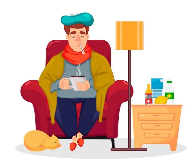 Больной человек сидит в кресле у себя дома