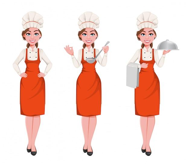 Красивый молодой шеф-повар женщина. милая поварская леди