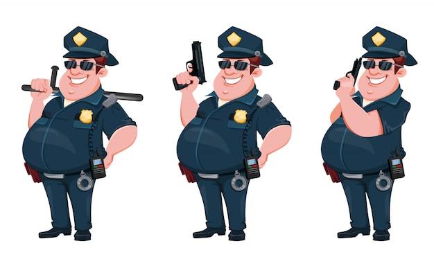 Офицер полиции. забавный персонаж мультфильма