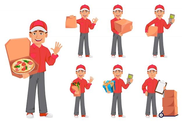 赤い制服を着た宅配便の男
