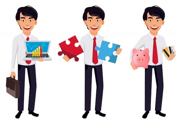 アジアビジネスの男性、漫画のキャラクターの概念
