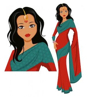 美しいサリーを着てかわいいインドの女性