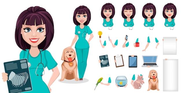 獣医師の女性の漫画のキャラクター