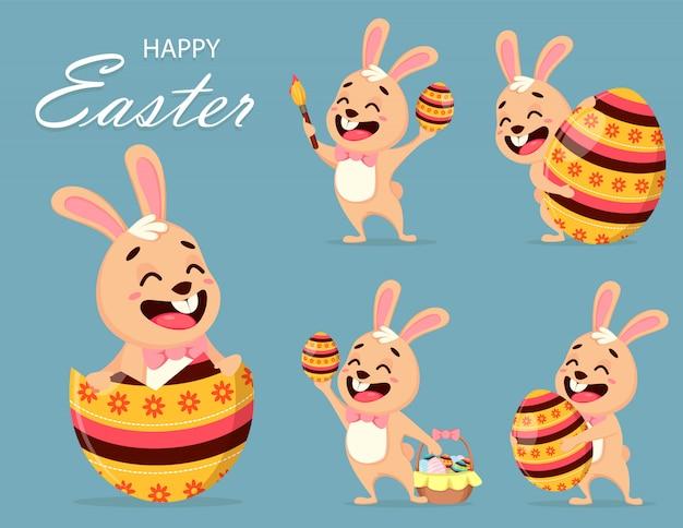 かわいいウサギの漫画のキャラクター、セット