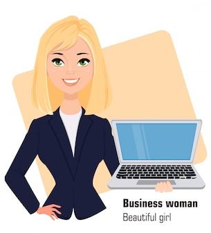 ビジネススタイルの服を着ている若い漫画実業家