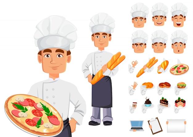 Красивый пекарь в профессиональной форме