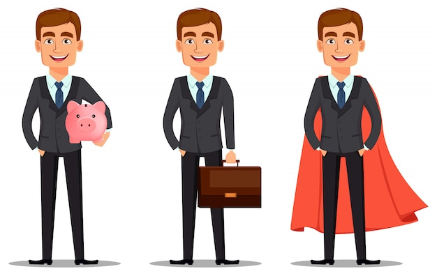 ビジネススーツ、ハンサムな銀行家セット