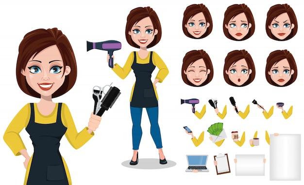 プロの制服を着た美容師女性