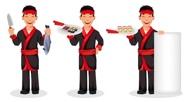 Японский повар готовит суши роллы