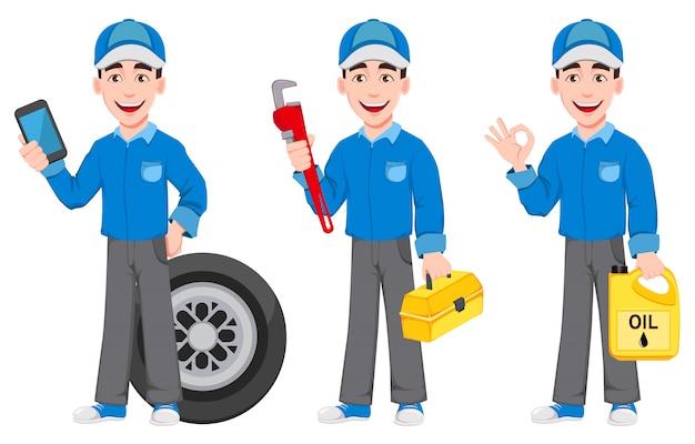 青い制服を着たプロの自動車整備士