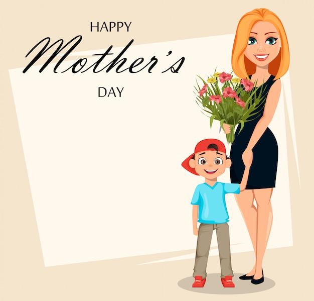 С днем матери. красивая женщина с букетом и ее сын