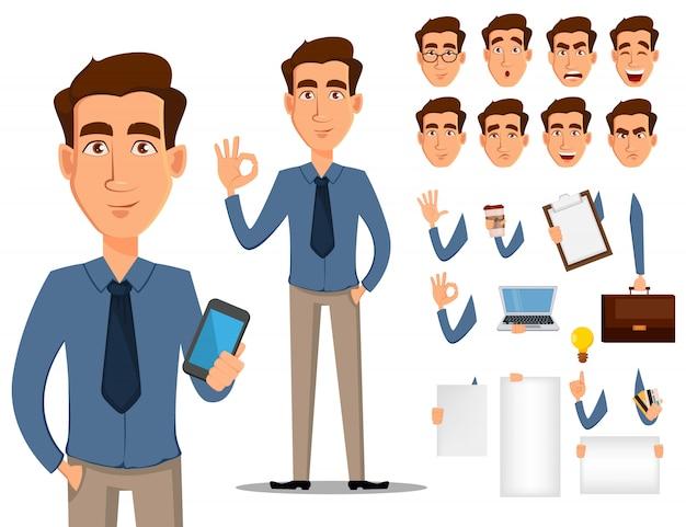 ビジネスマンの漫画のキャラクター作成セット