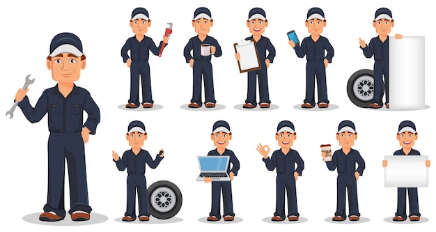 ユニフォームの専門の自動車整備士、セット