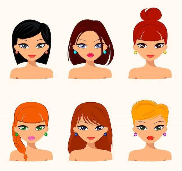 さまざまなヘアスタイルを持つ若いきれいな女性