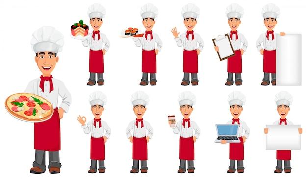 Молодой профессиональный шеф-повар в форме и готовить шляпу