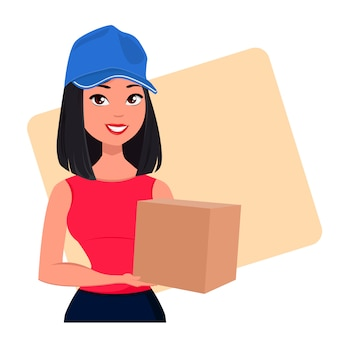 Молодая мультипликационная девушка из курьерской службы доставки