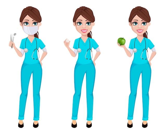 Стоматолог женщина, набор из трех поз