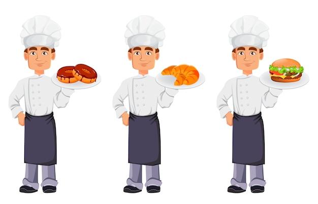 プロの制服を着たハンサムなパン屋