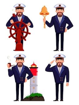 プロの制服を着た船の船長