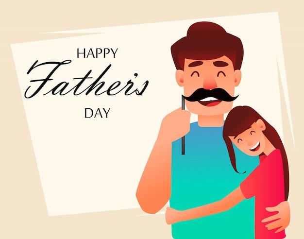 陽気な娘は父親を抱擁します。